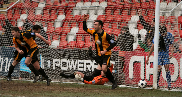 Tom Hamblin and Matt Liddiard celebrate Lewis Hogg's equalising goal
