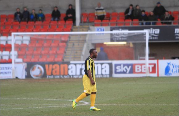 It's a long and lonely walk for Sahr Kabba as he gets sent off against Lowestoft