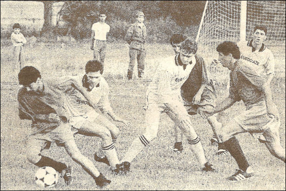 Mark Madge, Brian Hughes and Steve Talboys in action against Mesxti